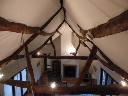 Roof structure of a house in Freshwater looking very frail indeed