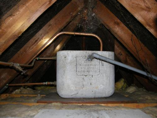 Asbestos Cement water tank found in loft of a property in Newport